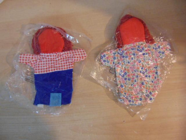 1970's Set of 2 NEW Raggedy Anne and Andy Cloth Hand Puppets Sealed In Original Bags RARE