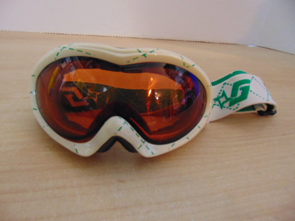 Ski Goggles Adult Size Gordini Cream White and Green With Orange Lense