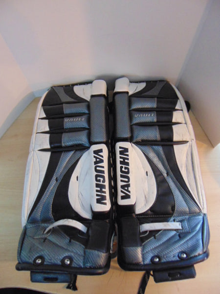 Hockey Goalie Shin Pads Child Size 28 Inch Vaughn Black White