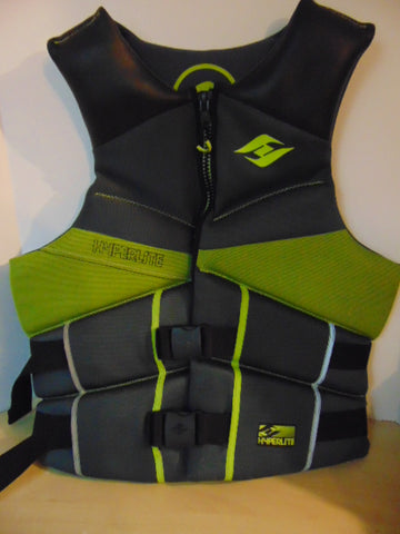 Life Jacket Men's Size X Large Hyperlite Ski Surf Grey Lime Black Neoprene