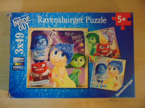 Child Jigsaw Puzzle 49 pc x 3 Ravensburger Emotional Adventure Disney Pixar Complete