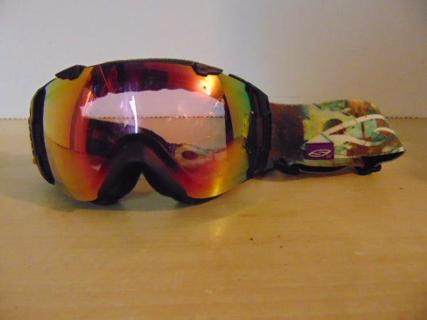 Ski Goggles Adult Size Smith Black Multi Big Mirrored Lense