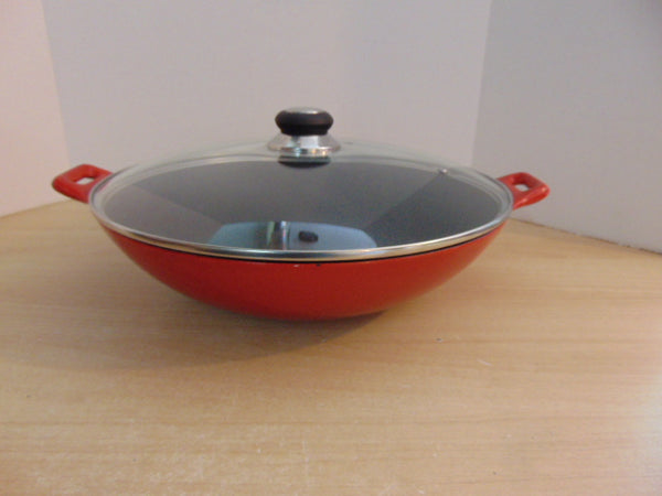 Cast Iron Large Wok With Lid Brick Red 15 inch With Lid Used Once Excellent