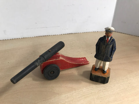 2 Vintage Wood WW2 Captain Figure and Cannon