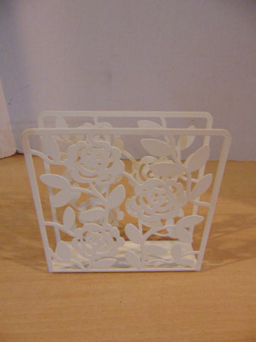 Napkin Holder White Metal Floral As New