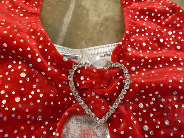 "Ballet Dance Figure Skating Child Size 14 Red Velour Sparkle/Glitter Chest 24"" Length 20"" New Demo"