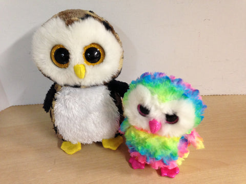 2  TY Plush Owls  6 and 10 inch Excellent