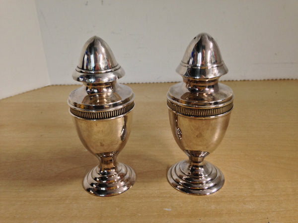 2 Victorian Steel Heavy Salt and Pepper Shakers 4 inch Large As New