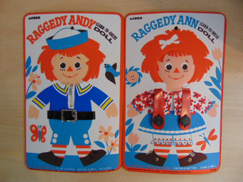 2 Raggedy Ann Andy LEARN-TO-DRESS dolls 1972 Vintage Bobbs Merrill  RARE No Laces or Buckles