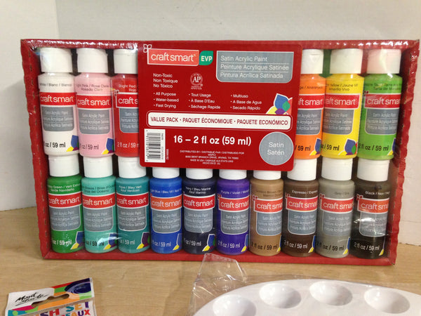3 pc New Art Paint set with 16 Craftsmart Bottles of Paint
