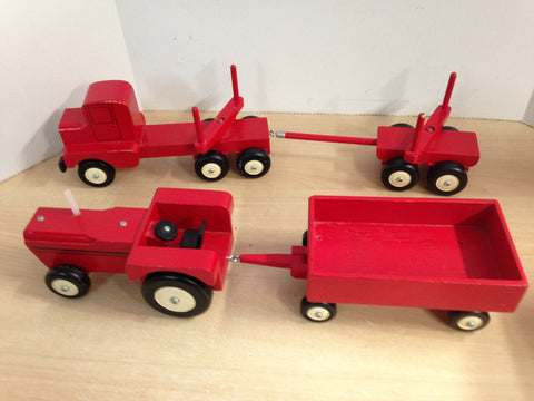 4 pc Vintage Solid Wood Hand Made Farm Tractor Trailer 20 inch and Logging Truck 24 inch Large