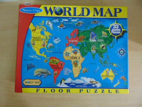 Child Jigsaw Puzzle 33 pc Melissa and Doug Jumbo Floor Puzzle World Map Complete