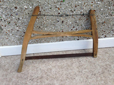 Antique Cottage Wood Bow Saw Cross Cut Very Nice