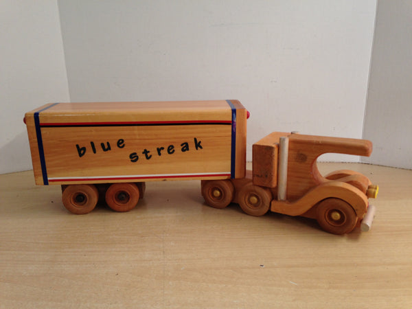 Antique Handmade Wood Semi Truck And Trailer Canada 22 inch