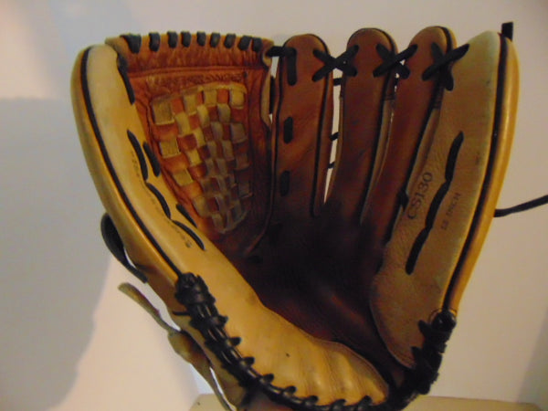 Baseball Glove Adult Size 13 inch Rawlings Tan Leather Fits on Left Hand
