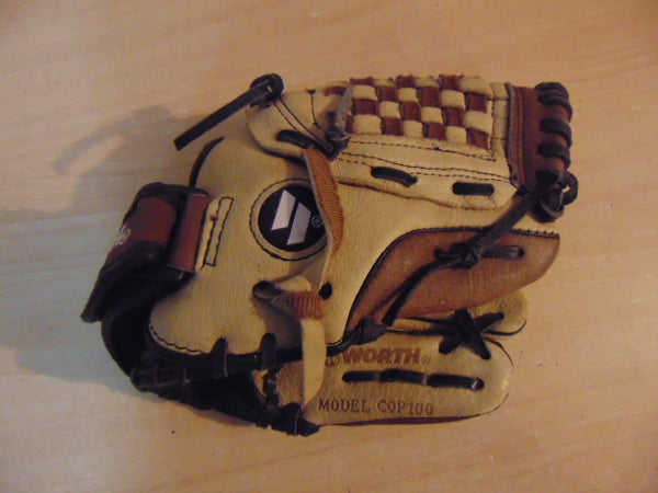 Baseball Glove Child Size 10 inch Worth Copperhead Brown Tan Leather Fits on Left Hand
