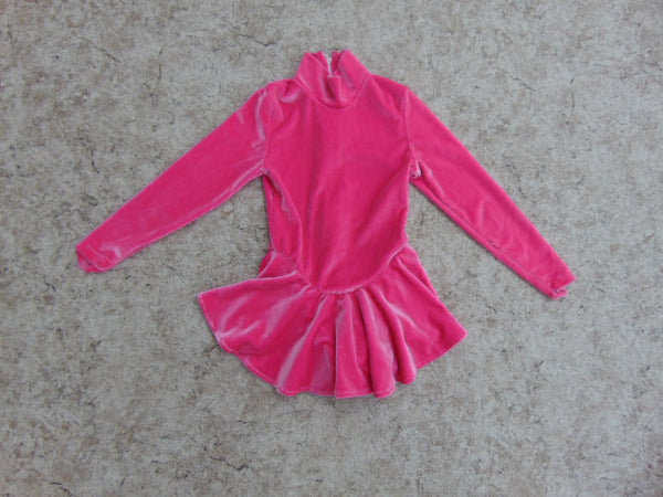 Ballet Dance Figure Skating Dress Child Size 6 Pink Velour Minor Wear Few Seams