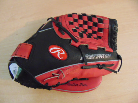 Baseball Glove Adult Size 11.75 inch Rawlings Soft Ball Pink Black Leather Fits on Left Hand As New