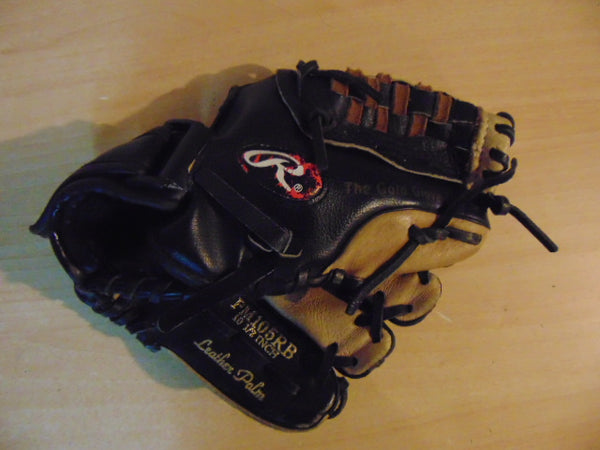 Baseball Glove Child Size 10.5 inch Rawlings Black Brown Leather Fits on Left Hand