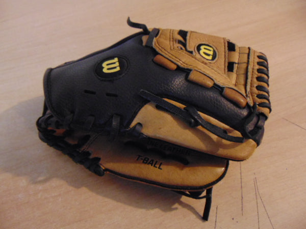 Baseball Glove Child Size 10 inch Wilson A360 Black Tan Leather Fits on Left Hand