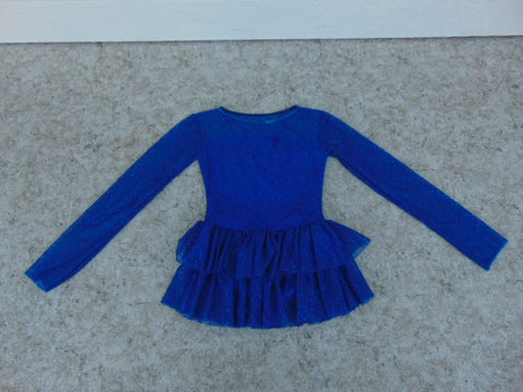 Ballet Dance Figure Skating Dress Child Size 10 Blue With Glitter and Lace As New Excellent
