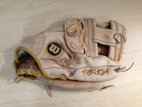 Baseball Glove Adult Size 13 inch Wilson Leather Tan Fits on Left Hand