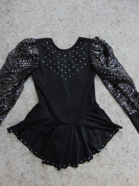 Ballet Dance Figure Skating Dress Ladies Size Small Jerry Black Silver Loaded With Sequenses
