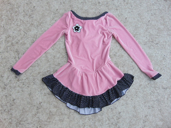 Ballet Dance Figure Skating Dress Child Size 12-14 Elite Sportswear Pink With Black Dots Velour