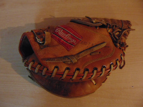 Baseball Glove Adult Size 11  inch Back Catchers Rawlings Soft Leather Tan Fits on Left Hand Excellent