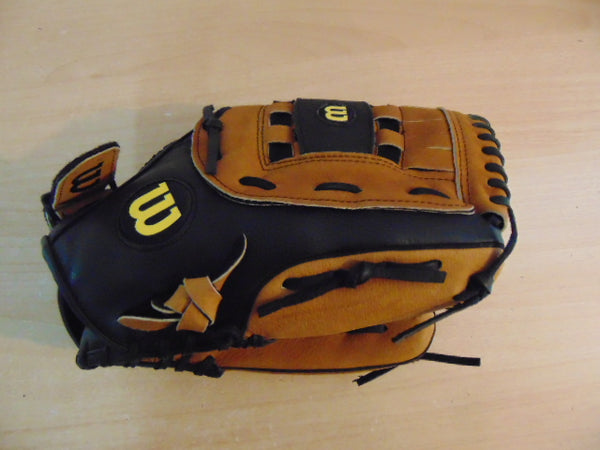 Baseball Glove Adult Size 13 inch Wilson Soft Leather Black Tan Fits on Left Hand New Demo Model