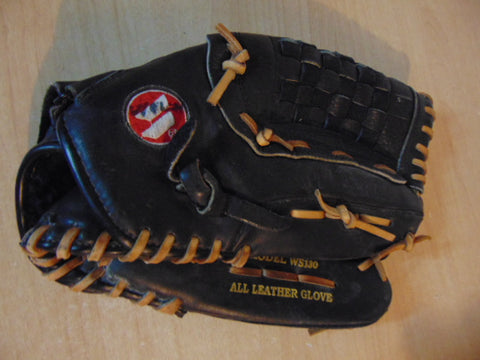 Baseball Glove Adult Size 13 inch Worth All Leather Black WS180 Excellent Fits on Left Hand