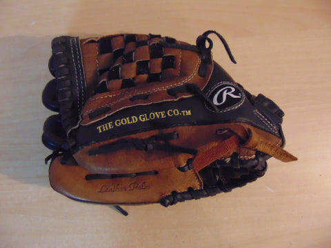 Baseball Glove Adult Size 12 inch Rawlings Gold Glove Soft Leather Black Brown Fits on RIGHT Hand As New