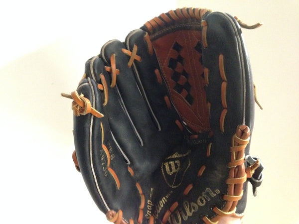 Baseball Glove Adult Size 13 inch Wilson A9736 Leather Black Fits on Right Hand Excellent