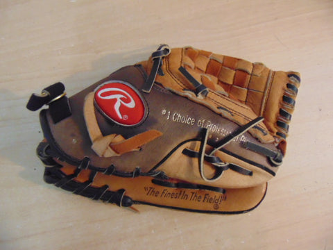 Baseball Glove Child Size 10.5 inch Rawlings Tan Black Leather Fits on Left Hand