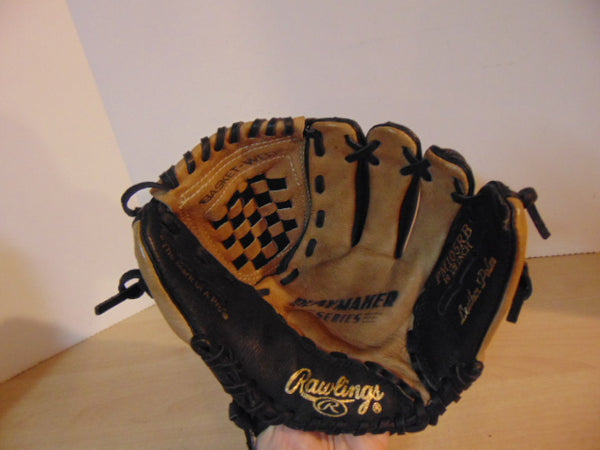 Baseball Glove Child Size 10.5 inch Rawlings Brown Black Leather Fits on Left Hand