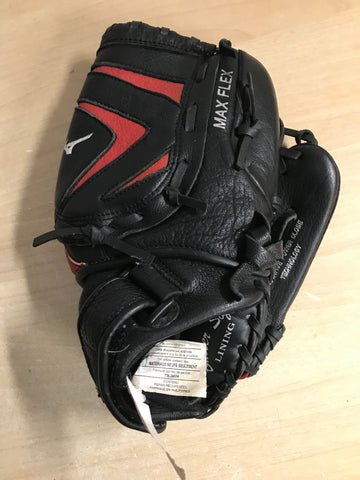 Baseball Glove Adult Size 11.5 inch Mizuno Max Flex Black Red Leather Fits on Left Hand Excellent