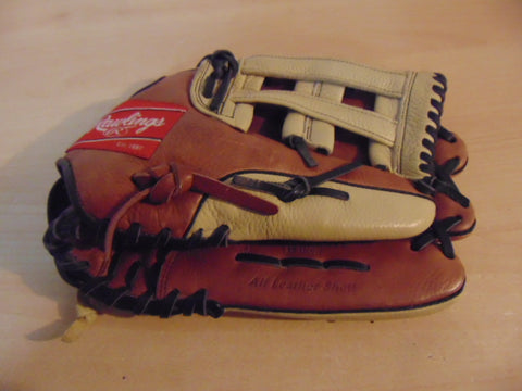 Baseball Glove Adult Size 13 inch Rawlings Zero Shock All Leather Tan and Rust Fits on Left Hand Excellent Condition