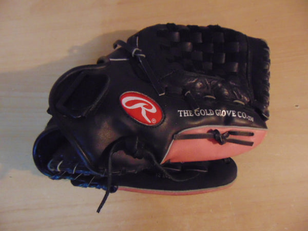 Baseball Glove Adult Size 12 inch Rawlings The Gold Glove Black Pink Leather Fits on Left Hand As New