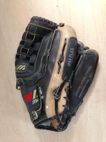Baseball Glove Adult Size 12.5 inch Mizuno Leather Black Tan Fits on Left Hand