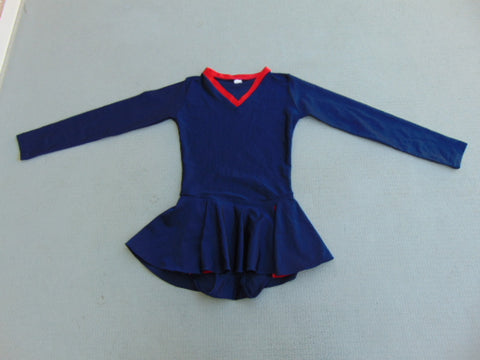 Ballet Dance Figure Skating Dress Child Size 12 Marine Blue Red Excellent