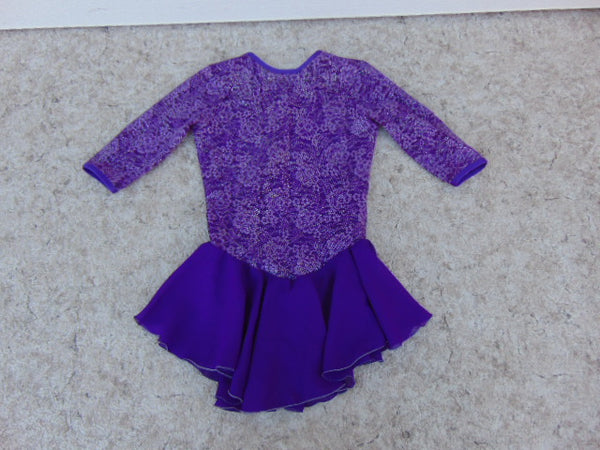 Ballet Dance Figure Skating Dress Child Size 12-14 Jerry's Purple Nyon Lace and Bling Outstanding As New