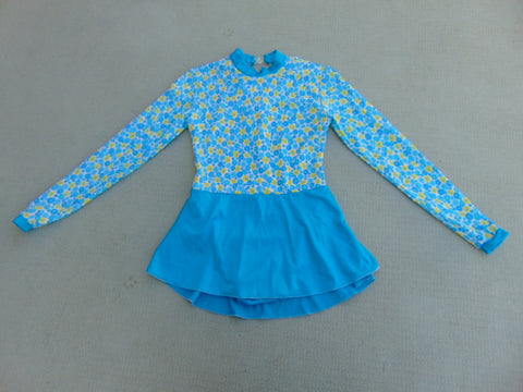 Ballet Dance Figure Skating Dress Child Size 8 Aqua Blue Yellow Daisy Excellent