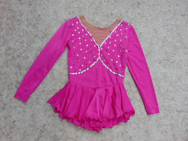 Ballet Dance Figure Skating Dress Child Size 14-16 Youth Fushia Pink Loaded With Sequences
