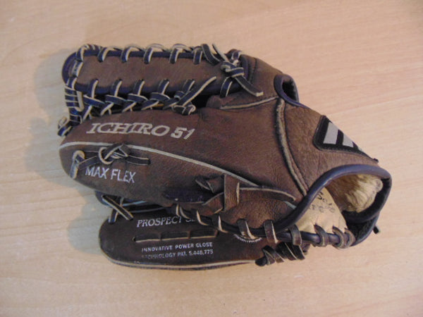 Baseball Glove Adult Size 11.5 inch Mizuno Max Flex Leather Brown Fits on RIGHT Hand