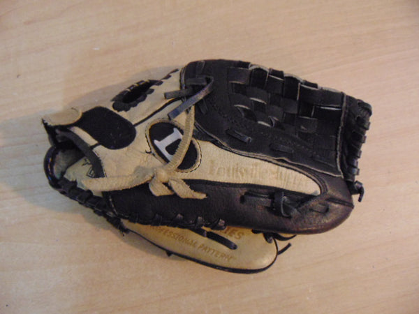 Baseball Glove Child Size 10.5 inch Louisville Slugger Tan Black Soft Leather Fits on Left Hand