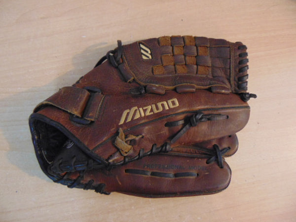 Baseball Glove Adult Size 12.5 inch Mizuno MVT1251 Brown Leather Fits on Left Hand