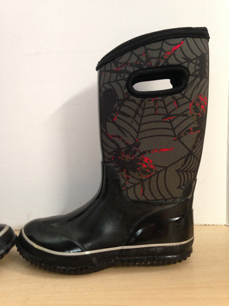 Bogs Style Child Size 2 Spider Neoprene Rubber Boots Black