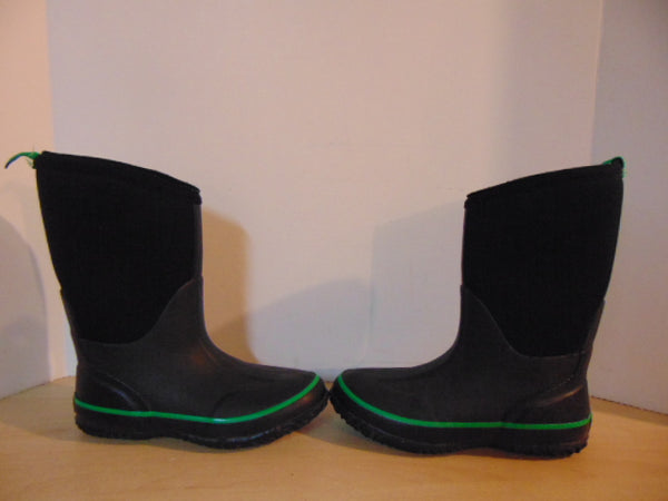 Bogs Style Child Size 3 Storm Green Black Neoprene Rubber Rain Winter Snow Waterproof Boots