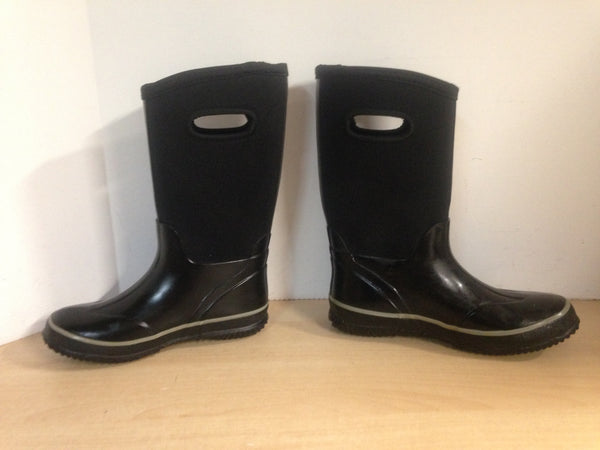 Bogs Style Child Size 4 Neoprene Winter Rubber Boots Black Grey Excellent