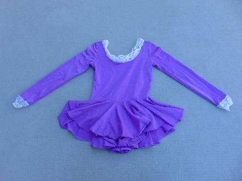 Ballet Dance Figure Skating Dress Child Size 14 Fushia Purple With Lace Trim Hand Made